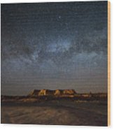 Across The Universe - Milky Way Galaxy Over Mesa In Arizona Wood Print