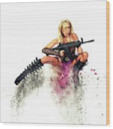 Action Girl Wood Print