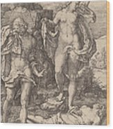 Adam And Eve Lamenting The Death Of Abel Wood Print