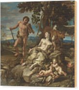 Adam And Eve With The Infants Cain And Abel Wood Print