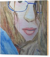 Addie In Blue Wood Print