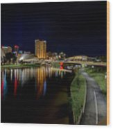 Adelaide Riverbank At Night Iv Wood Print