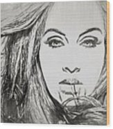 Adele Charcoal Sketch Wood Print
