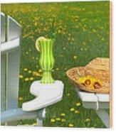 Adirondack Chair On The Grass  Wood Print