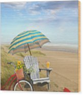 Adirondack Chair With Bicycle And Umbrella By The Seaside Wood Print