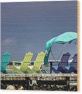 Adirondack Chairs At Coyaba Mahoe Bay Jamaica. Wood Print