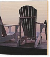 Adirondack Chairs Dockside At Lavender Haze Twilight Wood Print
