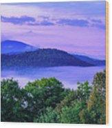 Adirondack Mountains In Fog Wood Print
