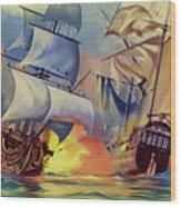 Admiral Hood's Fleet In The West Indies Wood Print