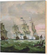 Admiral Sir Edward Hawke Defeating Admiral De Conflans In The Bay Of Biscay Wood Print by Thomas Luny