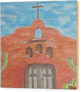 Adobe Church And Cactus Wood Print