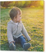Adorable Baby Playing Outdoors Wood Print