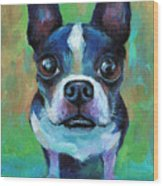 Adorable Boston Terrier Dog Wood Print