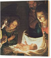 Adoration Of The Baby Wood Print