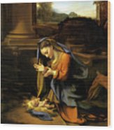 Adoration Of The Child Wood Print by Correggio