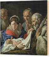Adoration Of The Infant Jesus Wood Print