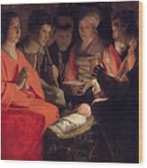 Adoration Of The Shepherds Wood Print by Georges de la Tour