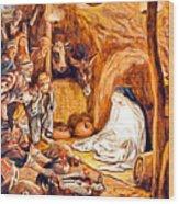 Adoration Of The Shepherds Nativity Wood Print