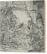 Adoration Of The Shepherds, With Lamp Wood Print