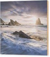 Adraga Surf Wood Print