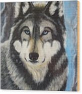 Adult Grey Wolf Wood Print