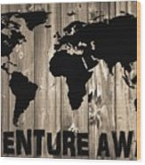 Adventure Awaits Graphic Barn Door Wood Print