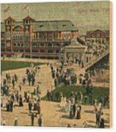 Aerial Birds Eye View Of Long Beach Pier And Beachfront California Circa 1895 Wood Print