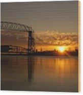 Aerial Bridge In Sunrise Wood Print