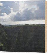 Aerial Canyon View Of Kauai Wood Print