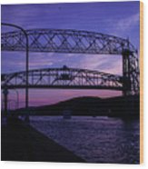 Aerial Lift Bridge At Sundown Wood Print
