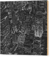 Aerial New York City Skyscrapers Bw Wood Print