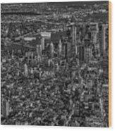 Aerial New York City Sunset Bw Bw Wood Print