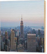 Aerial Night View Of Manhattan Skyline In New York Wood Print