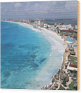 Aerial Of Cancun Wood Print