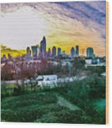 Aerial Of Charlotte North Carolina Skyline Wood Print