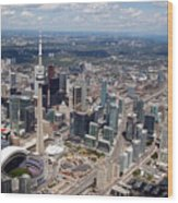 Aerial Of Downtown Toronto Ontario Wood Print