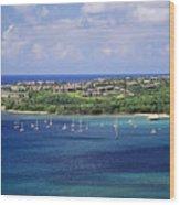 aerial of  Hanalei Bay and Princeville Resort Wood Print