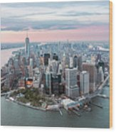 Aerial Of Lower Manhattan Peninsula At Sunset, New York, Usa Wood Print