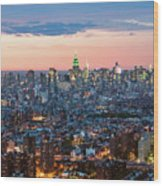 Aerial Of Midtown Manhattan With Empire State Building, New York Wood Print