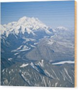 Aerial Of Mount Mckinley Wood Print