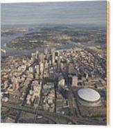 Aerial Of New Orleans Looking East Wood Print