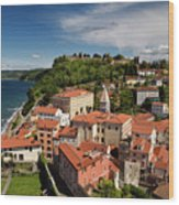 Aerial Of Piran Slovenia On Gulf Of Trieste Adriatic Sea With St Wood Print