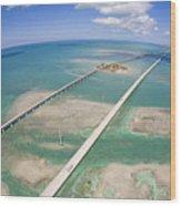 Aerial Of Seven Mile Bridge At Extreme Wood Print