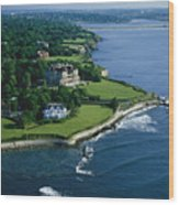 Aerial Of The Breakers, A Mansion Built Wood Print