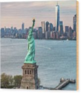 Aerial Of The Statue Of Liberty At Sunset, New York, Usa Wood Print