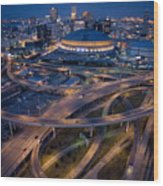 Aerial Of The Superdome In The Downtown Wood Print