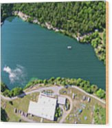 Aerial Over Blue Stone Quarry In North Carolina Wood Print