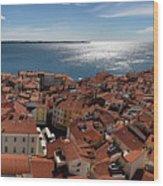 Aerial Panorama Of Piran Slovenia On Adriatic Sea With Marina An Wood Print