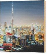 Aerial Panorama View Of Dubai By Night Wood Print