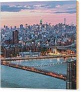 Aerial Panoramic Of Midtown Manhattan At Dusk, New York City, Us Wood Print